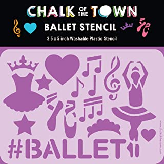 product image for Chalk of the Town Ballet Themed Plastic Stencil for Kids