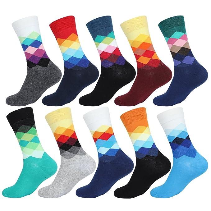 ValueHall 5 Pares Hombres Mujeres Estampados Calcetines de Algodón Transpirable Moda Calcetines de Colores Hombre y