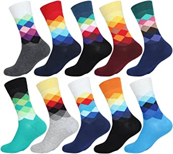 EGOGO 5 Pairs Casual Fun Cool Crazy Crew Dress Funky Novelty Cotton Socks Art Patterned for Men and Women E611-1