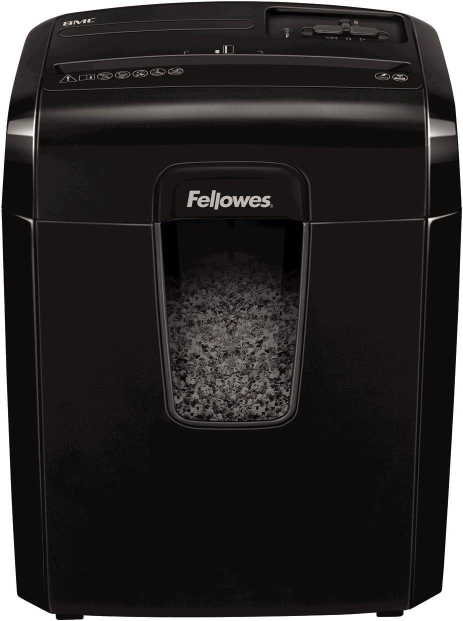 Fellowes 8Mc - Destructora trituradora de papel, minicorte, destruye hasta 8 hojas, uso personal,tritura tarjetas de crédito, color negro
