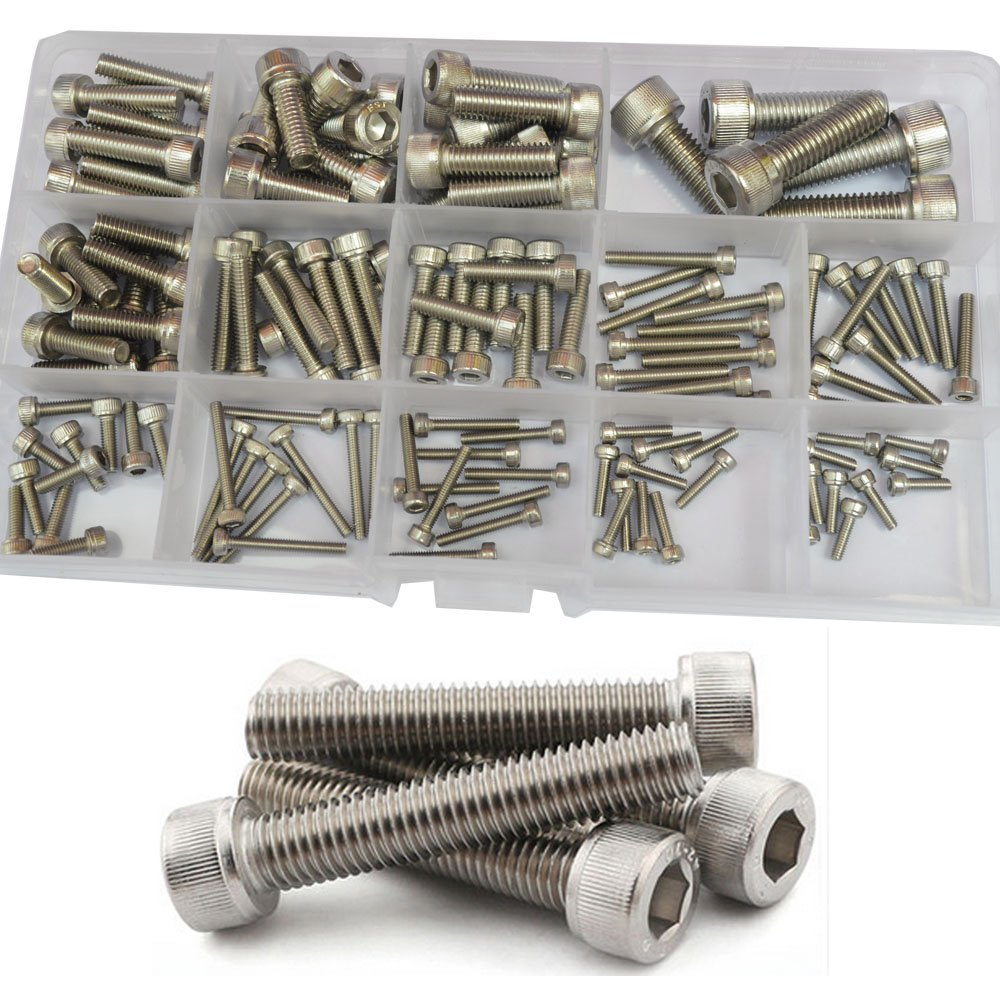 Socket Cap Screw Metric Hex Allen Head Bolt M2.5 M3 M4 M5 M6 M8 Hardware Assortment Kit 135Pcs (304Stainless Steel M2.5-M8)