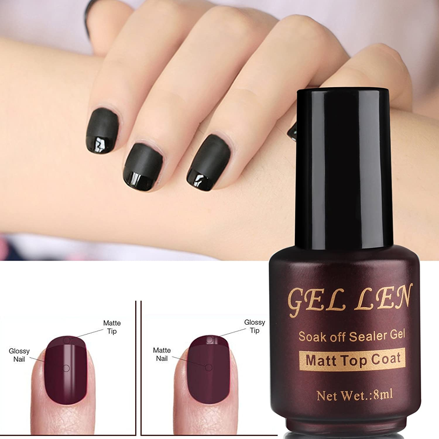 Amazon.com : Gellen 8ml Matte Finish Matte Top Coat for Gel Nail ...