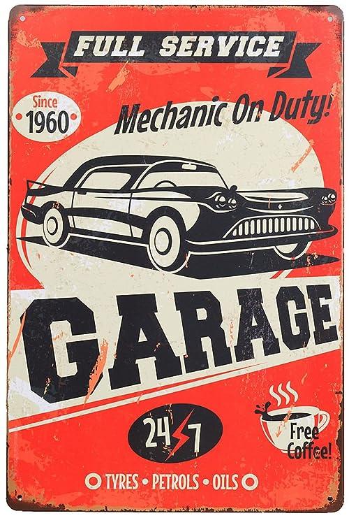 A.G.S. Taller Retro Cartel de Chapa Service Garage Metal ...