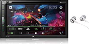 "Pioneer AVH-310EX 6.8"" Double DIN Touchscreen Display, Apple iPhone and Android Music Support, Bluetooth In-Dash DVD/CD AM/FM Front USB Digital Multimedia Car Stereo Receiver /Free Alphasonik Earbuds"