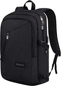 Slim Travel Backpack, Anti Theft Laptop Backpack for Men with USB Charging Port and Lock, Durable Water Resistant College Backpack School Bag for Students Fits 15.6 inch Computer
