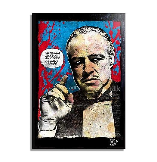 Don Vito Corleone de la película El Padrino (The Godfather) Pintura Enmarcado Original, Imagen Pop-Art, Impresión Póster, Impresion en Lienzo, Cuadro, ...
