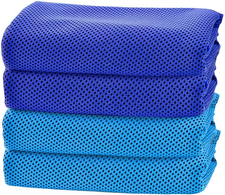 Samoii 4 Packs Cooling Towel, Summer Ice Microfiber Towel Exercise Workout Towels Soft Breathable Chilly