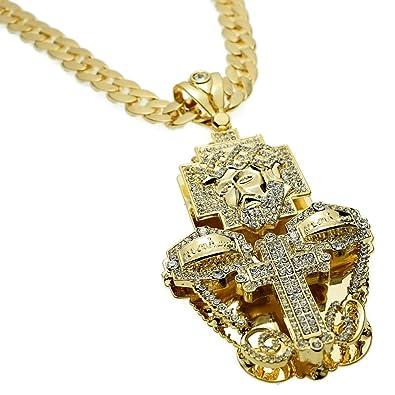Huge Jesus Piece Last Supper Cross Combo 3D Pendant Gold Finish 33 ... af416d89fbb5