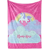 """Personalized Magical Rainbow Unicorn Blanket for Kids, Teens, Girls, Women, Baby, Adult - Cute Pink Mink Fleece Plush Sherpa Throw Blankets Perfect as Cozy Comfy Presents (30"""" x 40"""" - Baby)"""