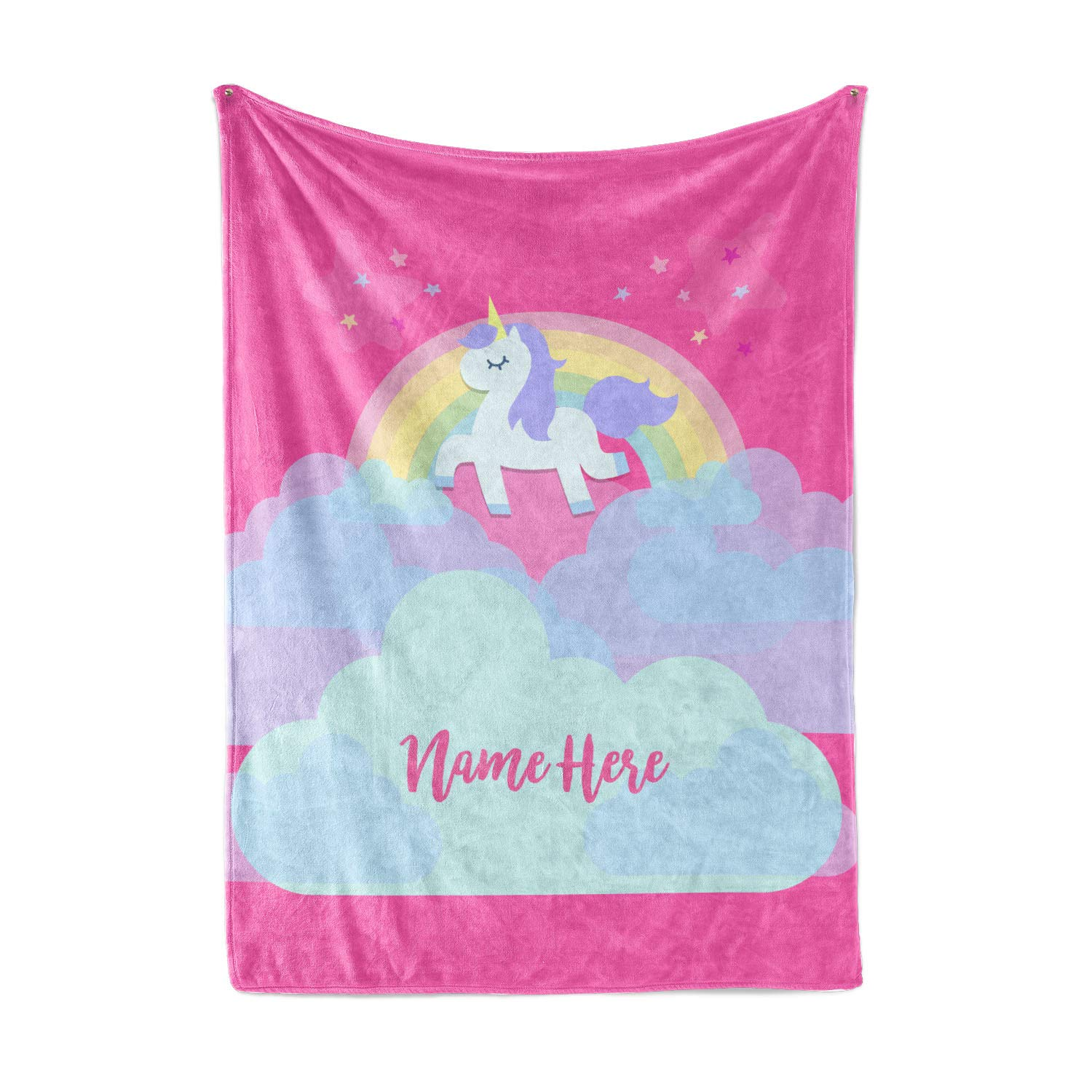 Personalized Magical Rainbow Unicorn Blanket for Kids, Teens, Girls, Women, Baby, Adult - Cute Pink Mink Fleece Plush Sherpa Throw Blankets Perfect as Cozy Comfy Presents (50'' x 60'' - Child) by Personalized Corner