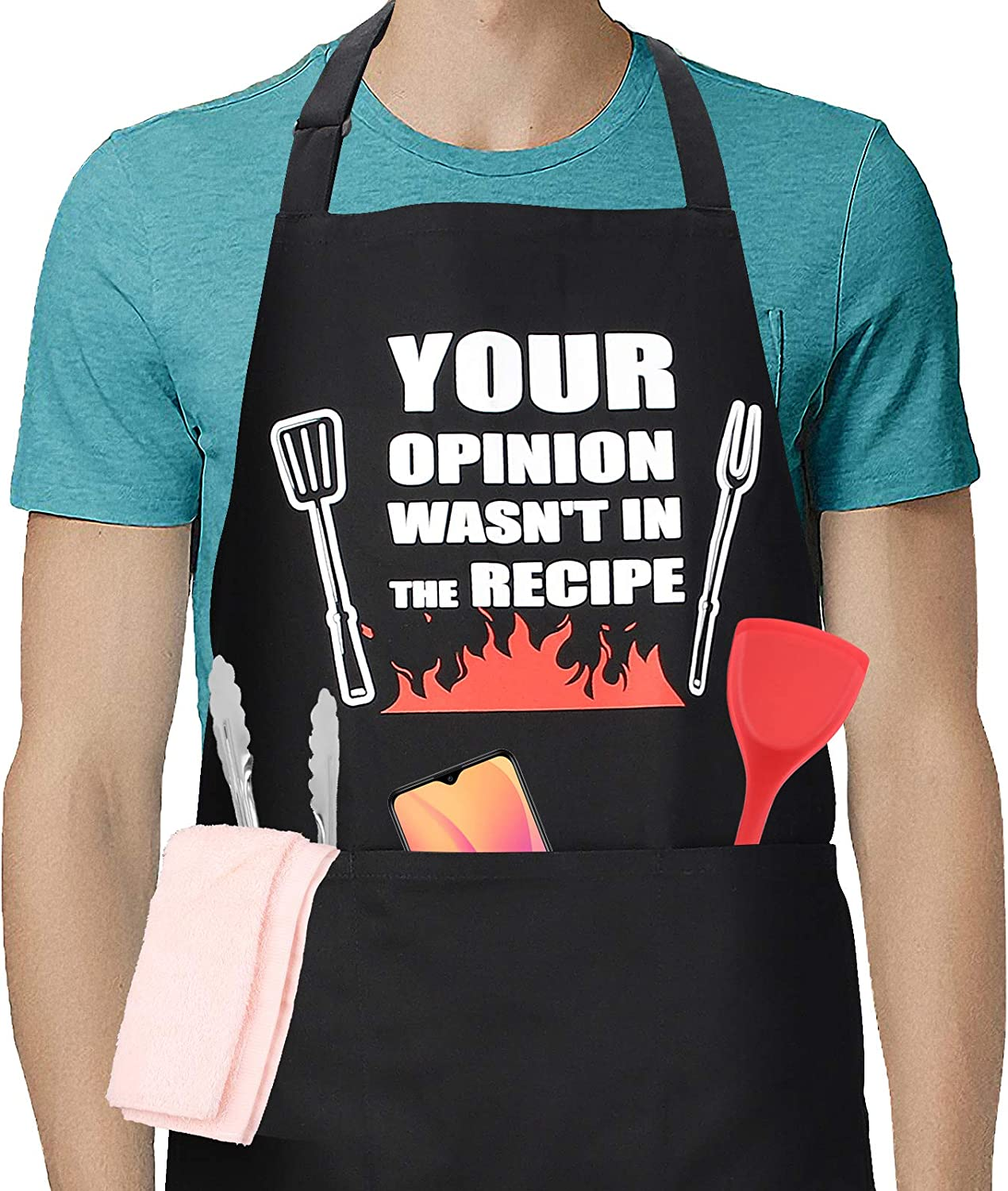 Funny Aprons for Men Women with 3 Pockets Unique BBQ Grilling Cooking Gifts