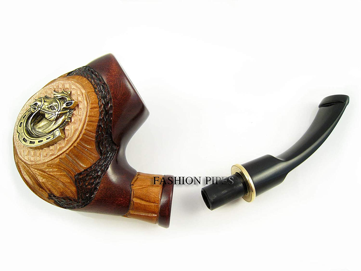 Fashion Tobacco Smoking Pipe MetalHorseshoe 5.5 Wood Handcrafted and Pouch