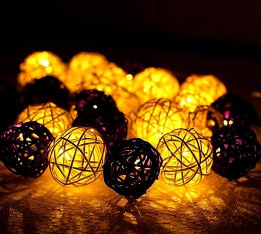 Dual Color Rattan Ball Lights Home Decoration Festival Decor Lights Diwali Christmas White Purple