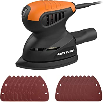 Meterk 13500RPM Random Orbit Sander with 16-Pieces Sandpapers