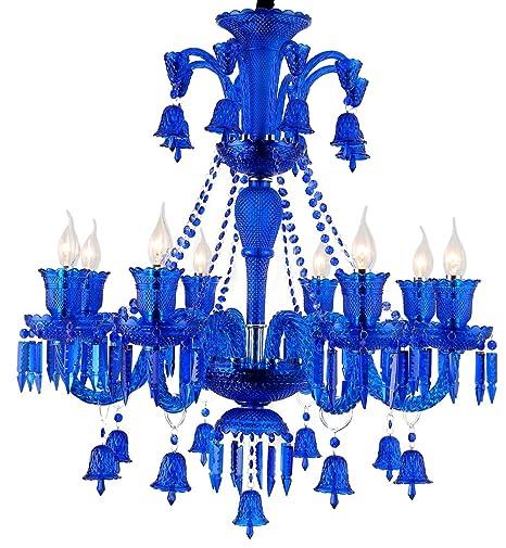Moderno Lujo Plafón Color Azul Lámpara De Techo De Vidrio ...
