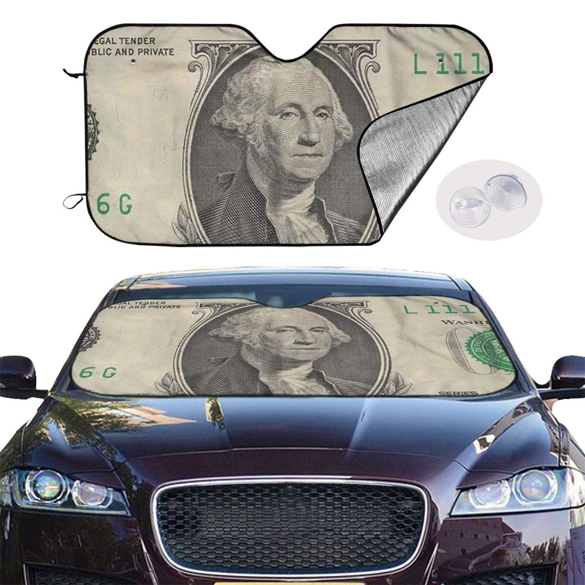 Windshield Sunshade for Car Foldable UV Ray Reflector Auto Front Window Sun Shade Visor Shield Cover, Keeps Vehicle Cool, One Dollar Bill by Sha-de
