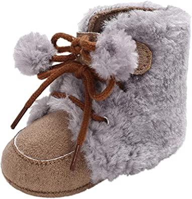 Voberry@ Cute Baby Girls Moccasins Hair Ball Soft Crib Toddler Shoes Infant First Walker Shoes