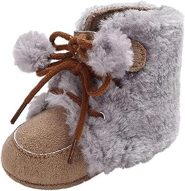 Voberry Baby Boys Girls Premium Cotton Soft Sole Plush Warm Outdoor Snow Boots