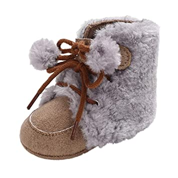 85872110c6df5 Winter Toddler Warm Shoes,Baby Girls Boys Soft Soft Booties Lace Up Hair  Ball Bandage