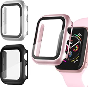 Recoppa 3 Pack Apple Watch case with Screen Protector for Apple Watch 44mm Series 6/5/4/SE, Full Hard Cover Ultra-Thin Bumper HD Clear Protective Film Scratch Resistant for Women Men iWatch