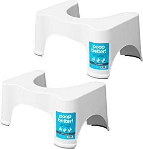 Squatty Potty The Original Bathroom Toilet Stool, 9 inch Height, White, (Pack of Two)