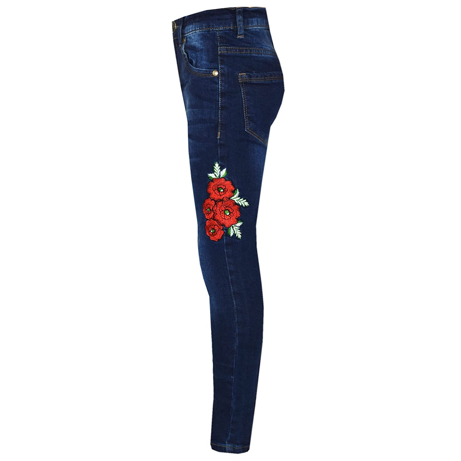Girls Kids Childrens Stretch Denim Jeans Ripped Or Embroidered Flowers Ages 5-13 Generic