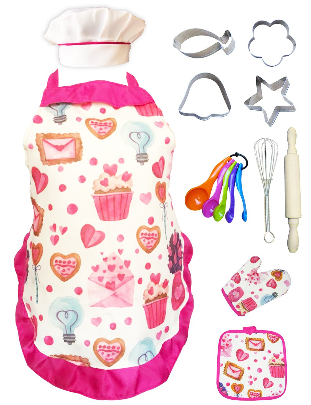 Cupcake Chef Set for Kids Cooking, Play Set with Apron for Girls,Chef Hat, and Other Accessories for Toddler,Career Role Play, Great Gift for Children Pretend Play, Size Medium 5-12 11 Pcs (Chef Set) by NLooking