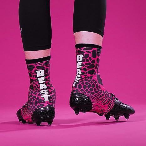 a21b7583f90 Amazon.com   Beast Snake Skin Pink Black Spats Cleat Covers   Sports ...