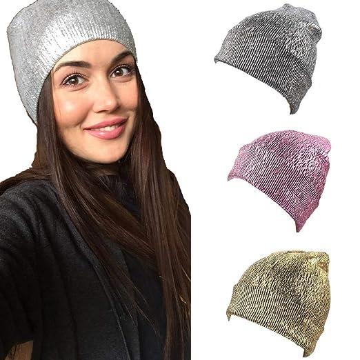 7e2c4d93 FRCOLT Women Hat Warm Ear Protection Crochet Winter Warm Keeping Knit  Glittering Caps (Free Size