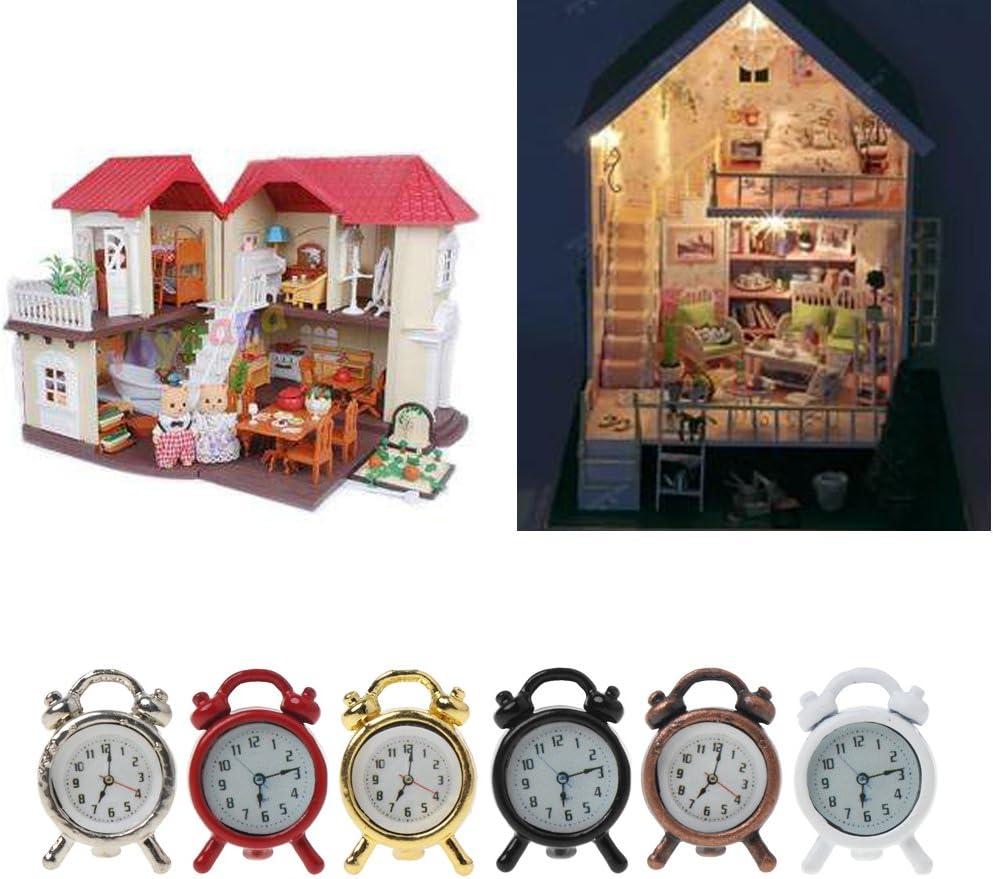 Metall 1.2x1.5cm Lamdoo 1: 6//1: 12/Ma/ßstab Wecker Puppenhaus Dekoration Miniatur Spielzeug Puppe Zubeh/ör Random3