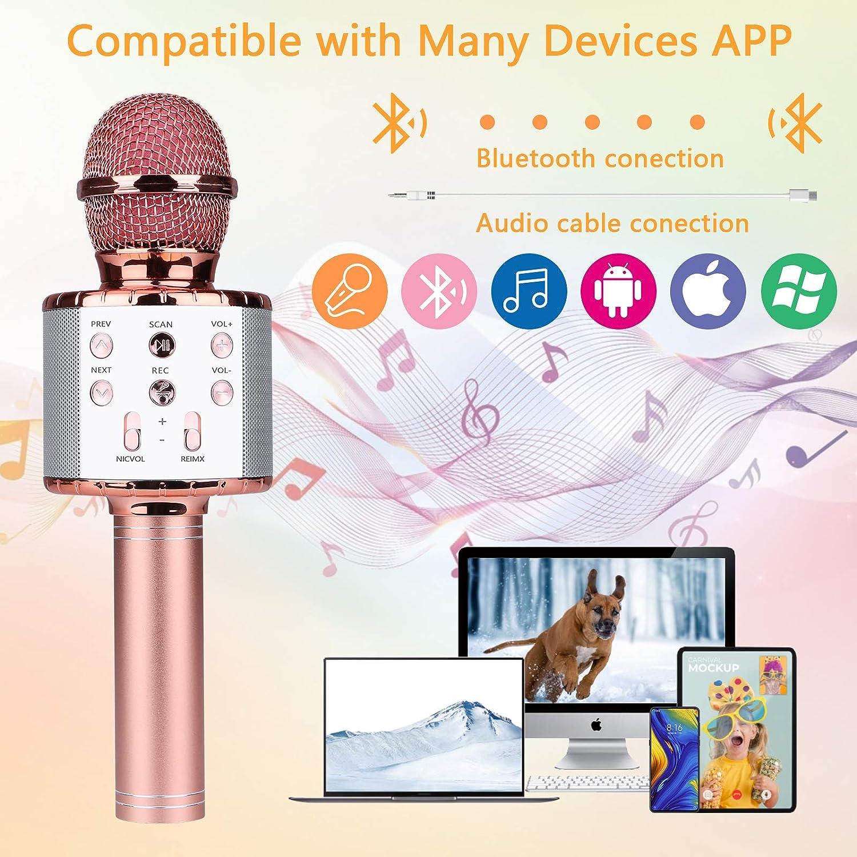 Micrófono Inalámbrico Karaoke,Guiseapue Micrófono karaoke microfonos Bluetooth Altavoz para Niños Canta Partido Musica (Oro rosa)
