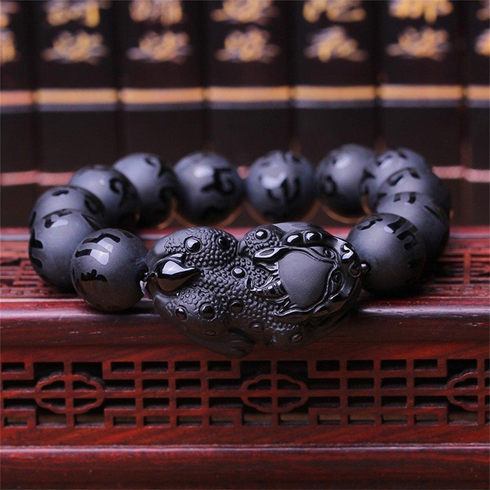 KOREA-JIAEN Pixiu Brecelet 16mm Natural Obsidian Bead Brecelet Bangle (16mm Bead, A) by KOREA-JIAEN (Image #5)