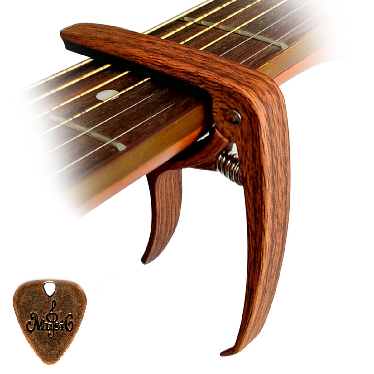 Cantus Capodastre pour guitare Alliage de Zinc Couleur Bois avec broches Extracteur