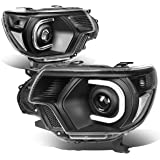 For Tacoma Pair of Black Housing Clear Corner 3D LED DRL Projector Headlight Lamp