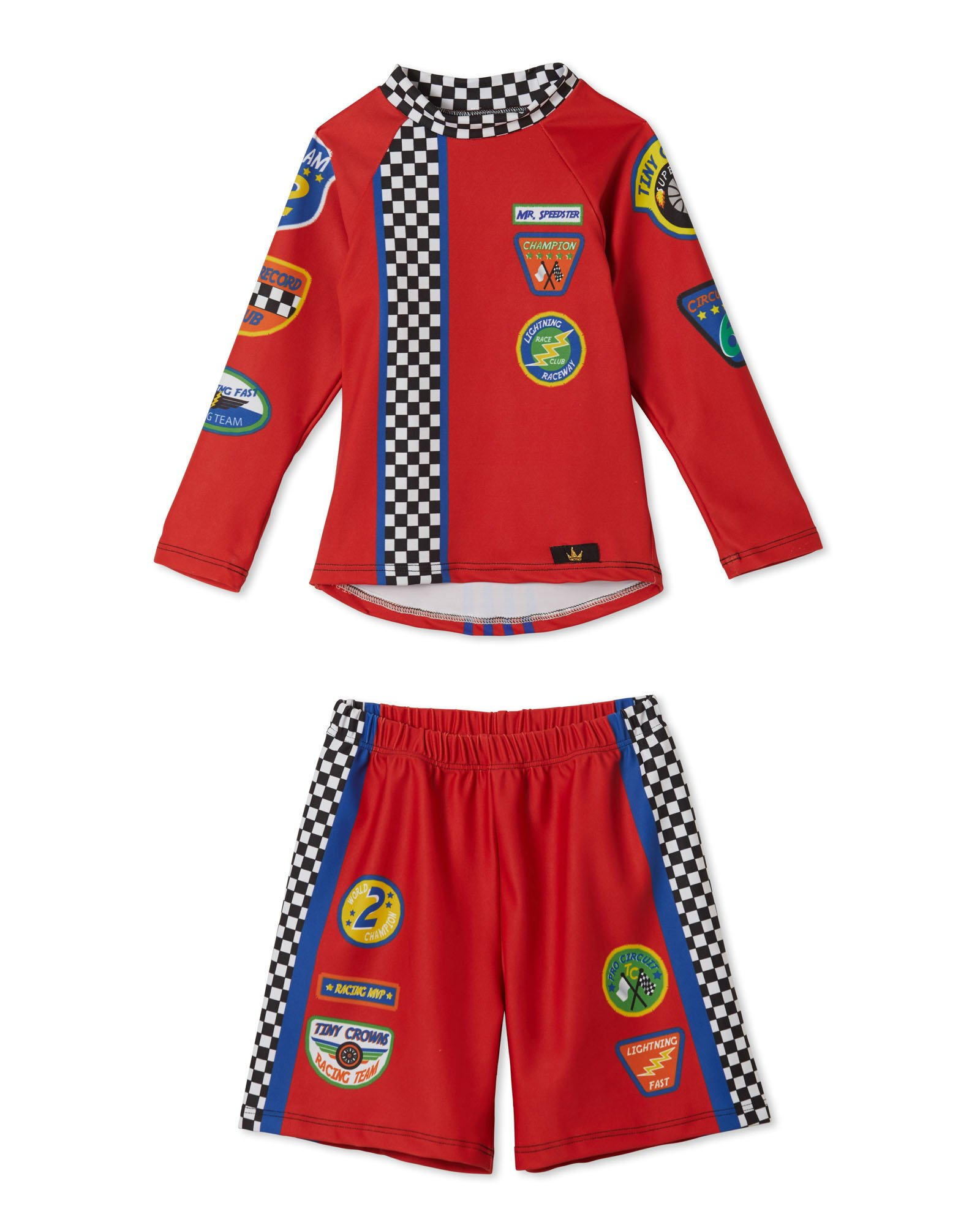 Little Boys Racecar Swim Trunks and Swimsuit Set – UPF 50 – Made in The USA (3T)