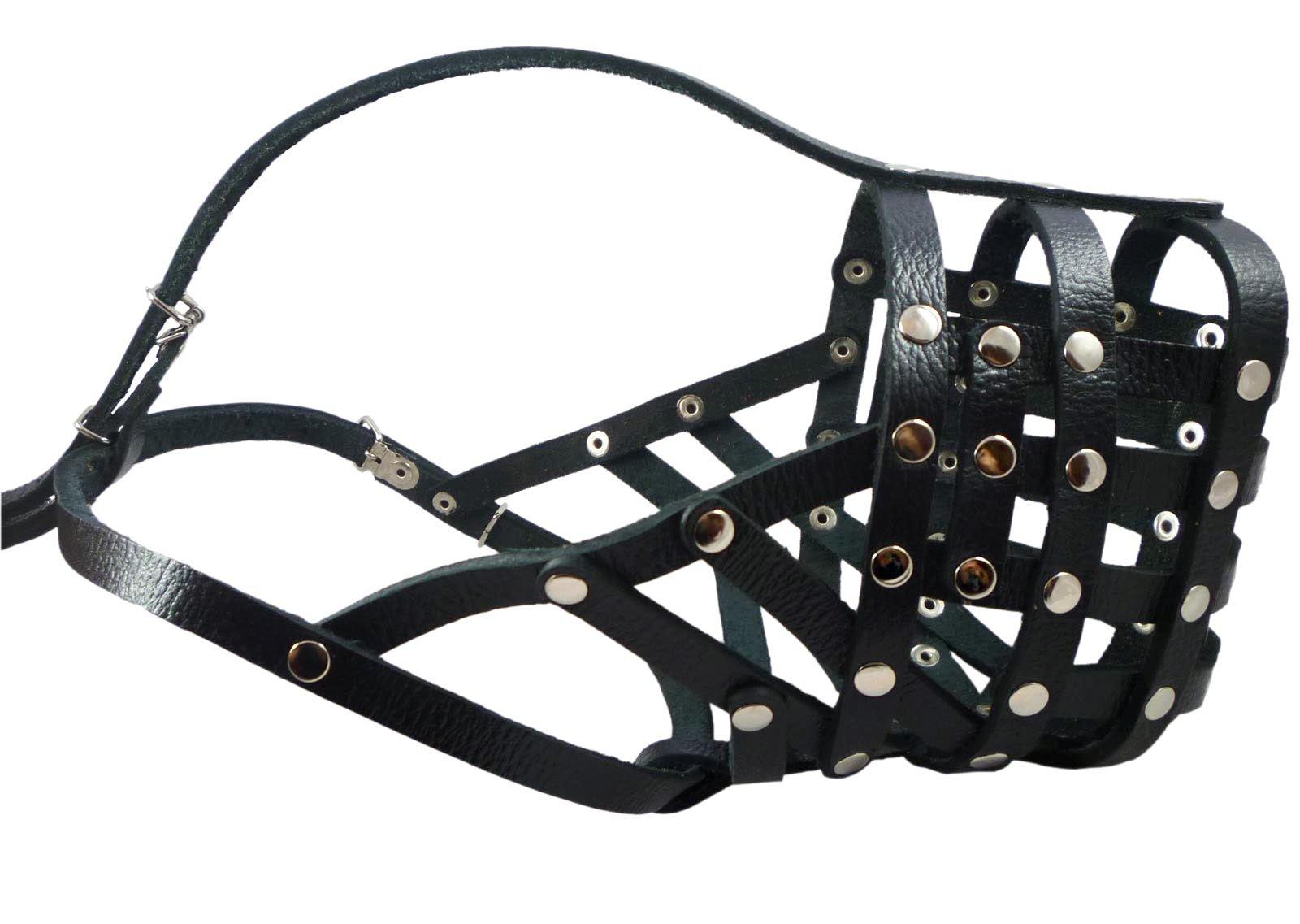 Secure Leather Mesh Basket Dog Muzzle #16 Black - Great Dane, Saint Bernard, Mastiff (Circumference 15.5'', Snout Length 4.5'')