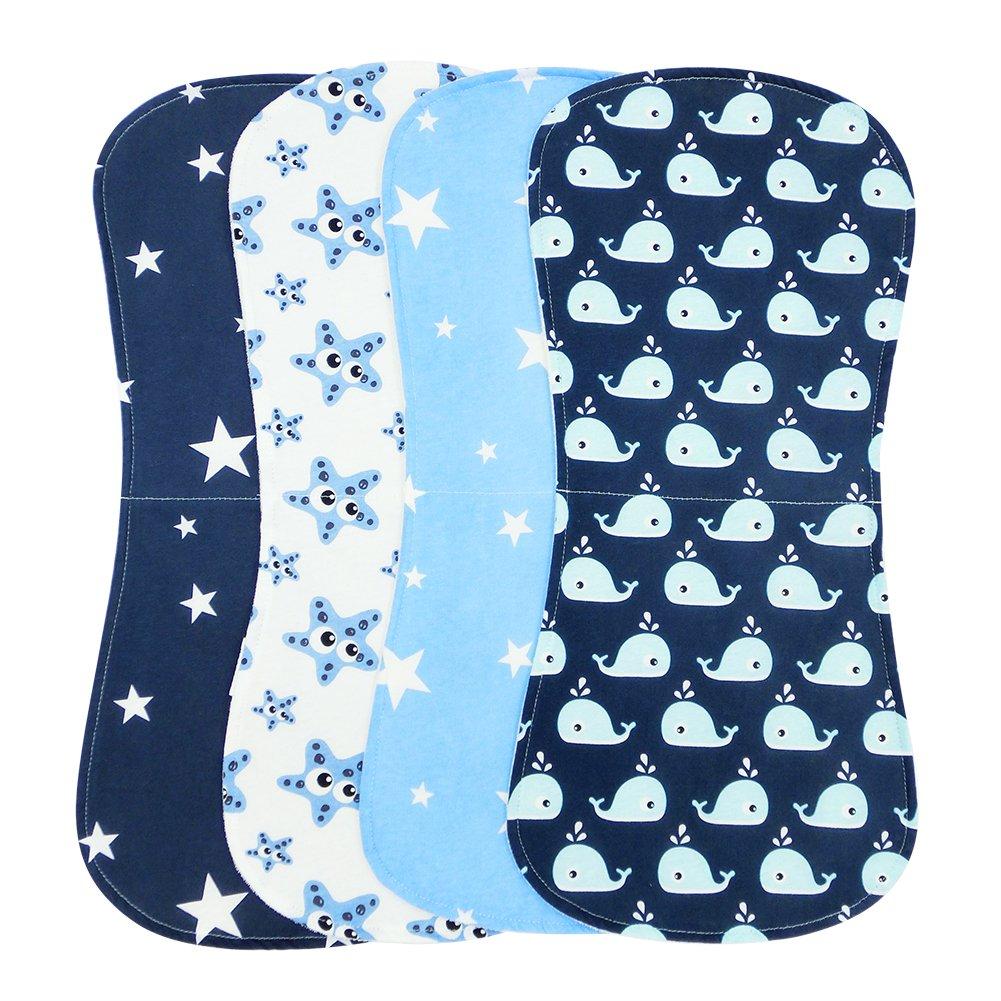 Paños Para Bebés, Burpy baberos de bebé, Paño Eructo 4 Unidades Fabricado en Algodón Orgánico de YOOFOSS ... (Azul): Amazon.es: Bebé