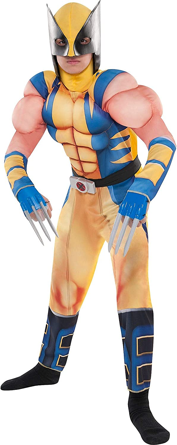 Includes a Padded Jumpsuit a Mask and Plastic Claws Costumes USA Wolverine Muscle Costume for Boys