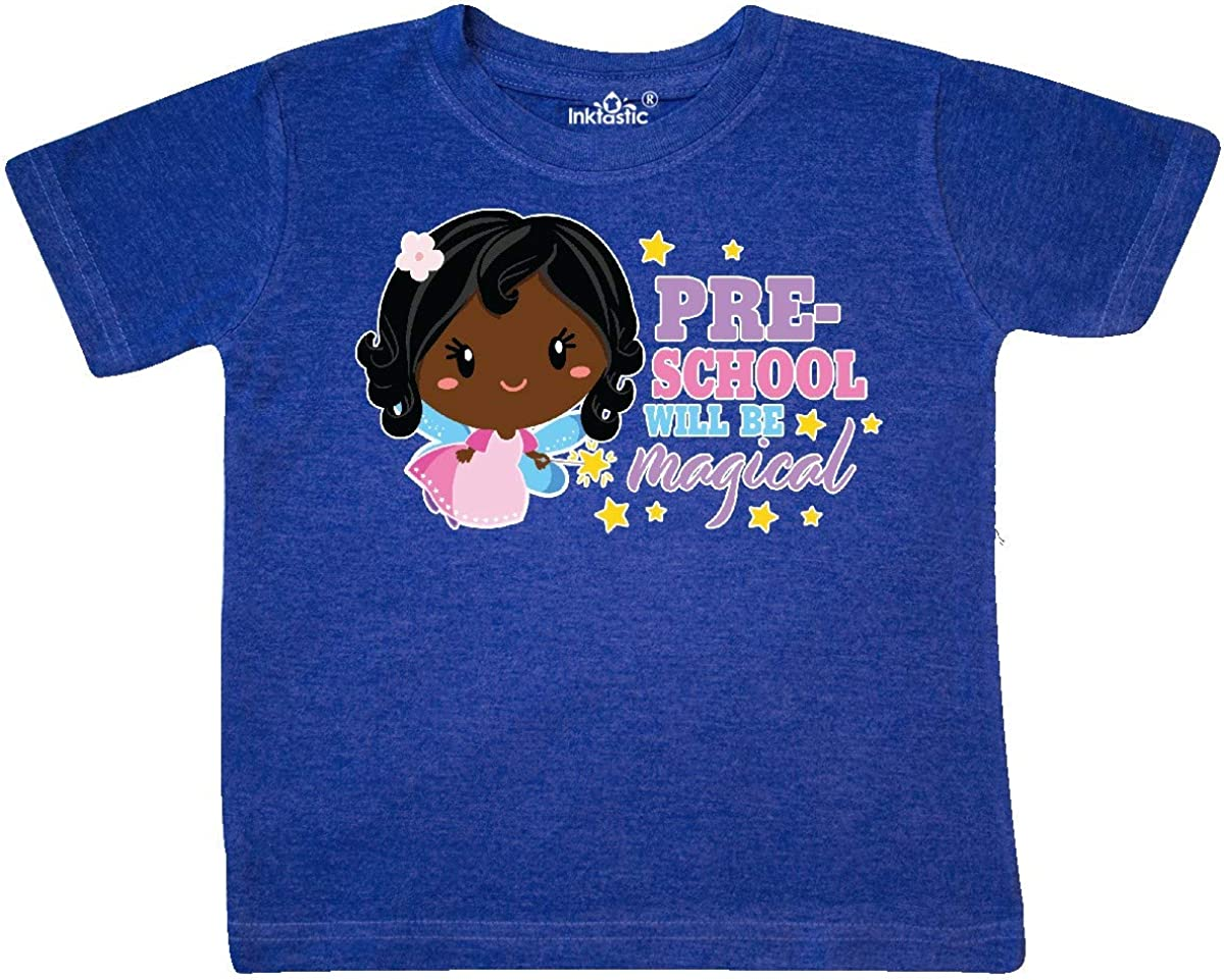 inktastic Preschool Will Be Magical with Black Haired Fairy Toddler T-Shirt