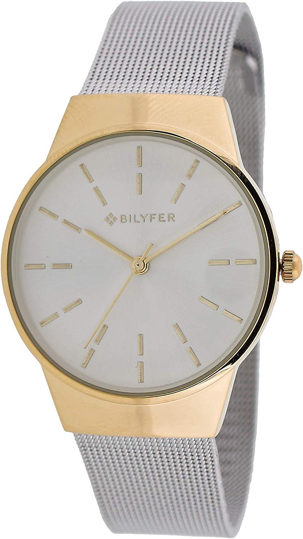 Reloj Bilyfer para Mujer con Correa Plateada y Pantalla en Blanco 3P568-P