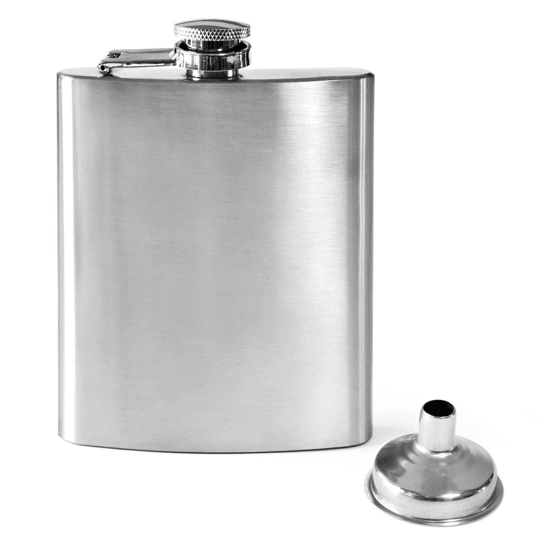Dimono, fiaschetta in acciaio inossidabile con tappo a vite e imbuto, capacità 220 ml, portatile, gadget capacità 220 ml