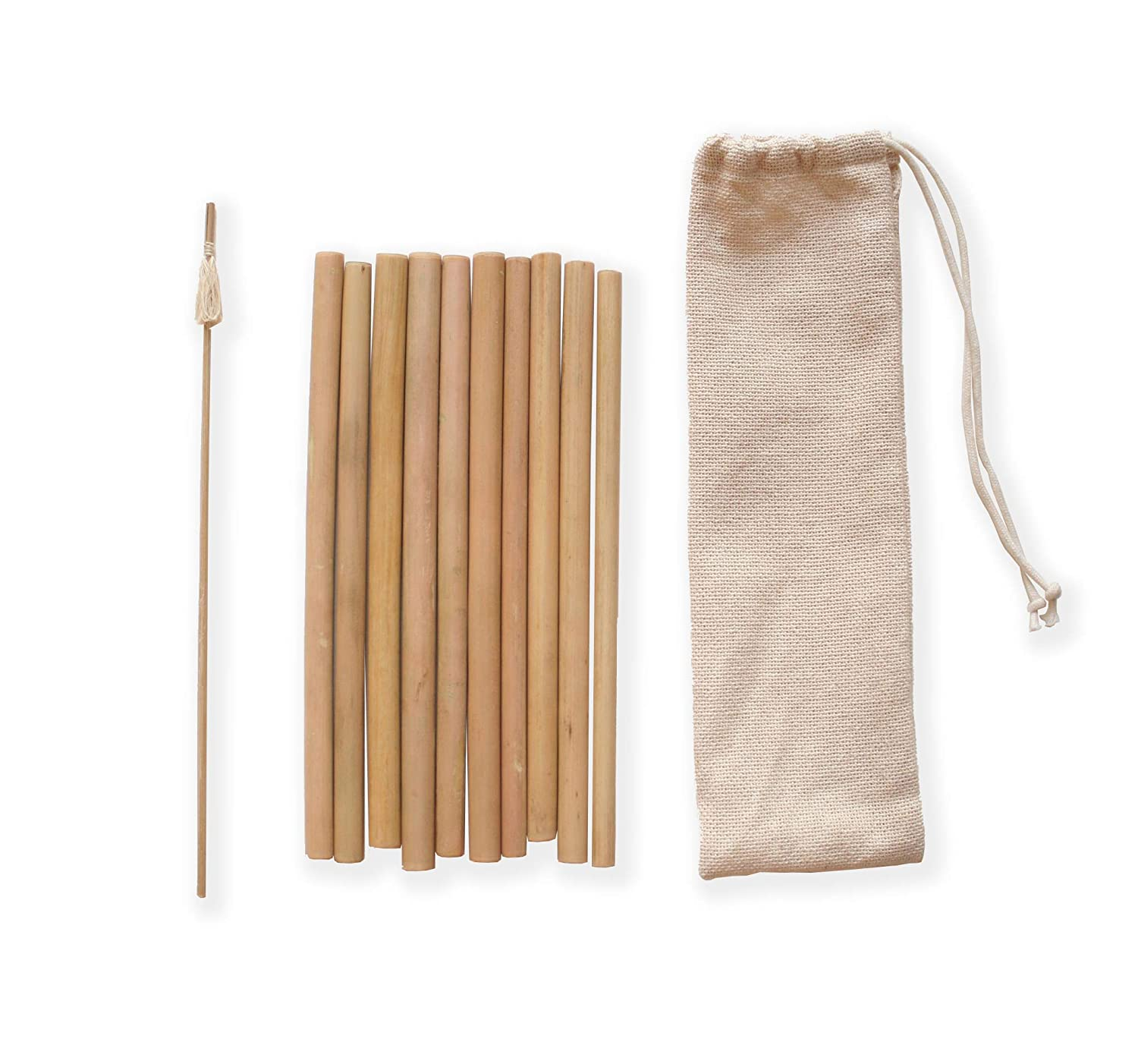 L'annamite Organic Bamboo Drinking Straws Set of 10, One Size, Natural Color