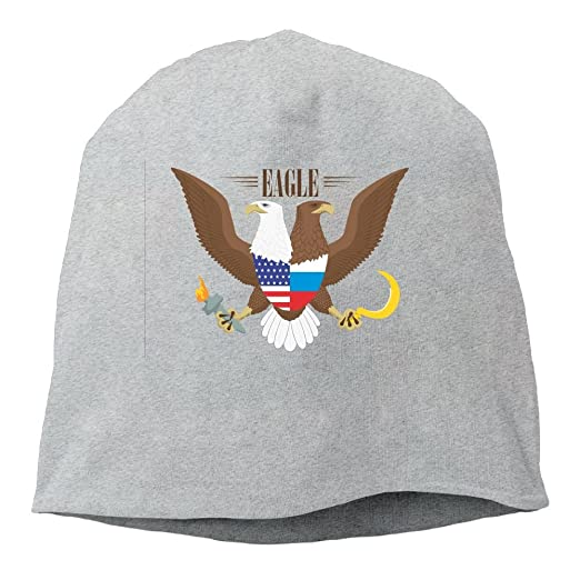 e45dcec740e Amazon.com  USA 2 Bald Eagle Russia Flag Cable Knit Skull Caps Thick ...