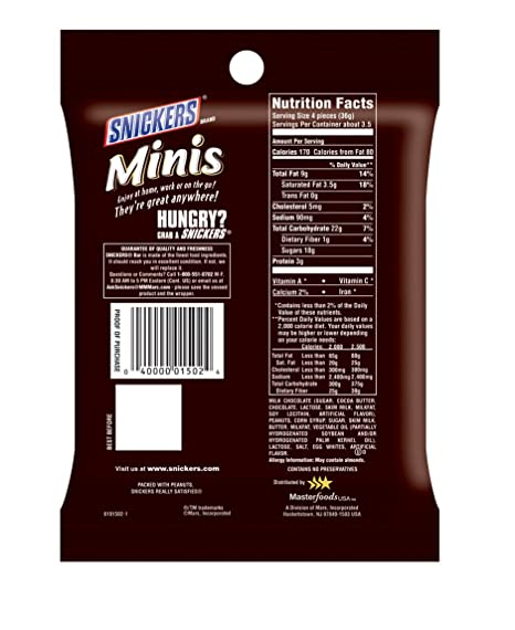 Amazon Com Snickers Minis Size Chocolate Candy Bars 2 86 Ounce Bag