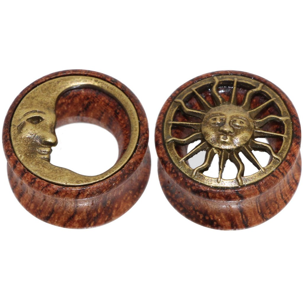 Tribal Sun & Moon Organic Wood Flesh Tunnels Double Flared Ear Stretcher Saddle Plugs Gauge 8mm - 20mm Zack Oasis plus BA54Y