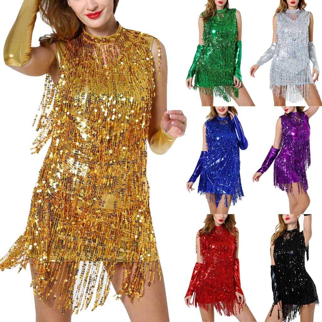 Rambling New Women Hang Neck Sequin Tassel Dance Skirt Latin Dance Costume Gold by Rambling Women's Dress (Image #6)