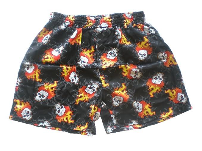 Bola de fuego diseño de calaveras de Algodón Pantalones cortos noble de cara de bóxer Boxershort