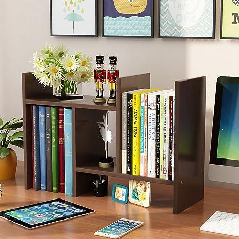 Yontree Expandable Wood Desktop Storage Organizer Multipurpose Desk Bookshelf Display Shelf Rack Counter Top Bookcase For