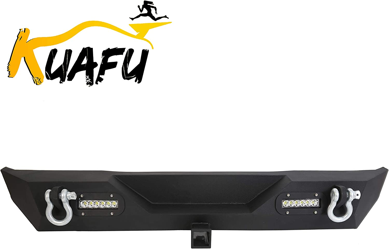Rear Bumper For 87-06 Jeep Wrangler TJ YJ Unlimited With LED Lights 2 Hitch Receiver D-rings Off-Road Style Black Texture