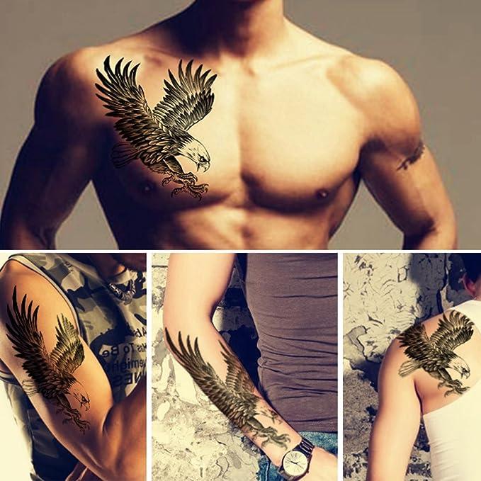 Tafly Temorary Masculine Tatouages Aigle Noir De Grandes Ailes Motif